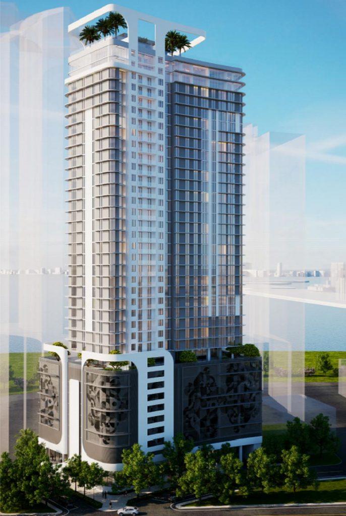 Kobi Karp projetou o edifício residencial de 36 andares proposto para a Northeast 18th Street e Northeast Fourth Avenue em Miami com 322 unidades.